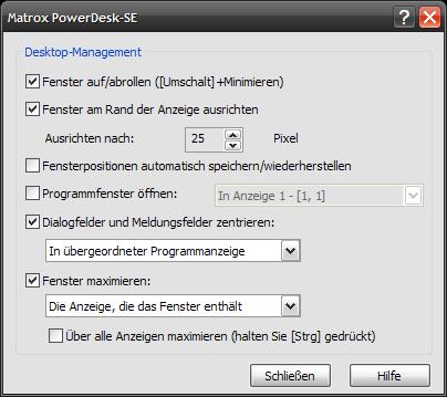 Matrox PowerDesk SE Einstellungen
